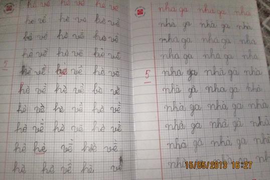 Sau 3 năm học giờ chữ viết của Quỳnh Chi đã khá lên rõ -2013